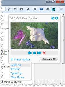 Дополнительные настройки анимации в дополнении MakeGIF Video Capture.
