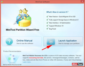 Запустить MiniTool Partition Wizard.
